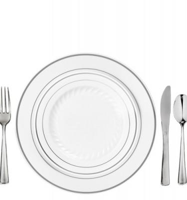 elegant plastic dinnerware for 100 white silver rim masterpiece style