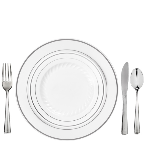 Elegant Plastic Dinnerware for 100 White Silver Rim Masterpiece Style  sc 1 st  Save On Party Goods & Elegant Plastic Dinnerware for 100 White Silver Rim Masterpiece ...