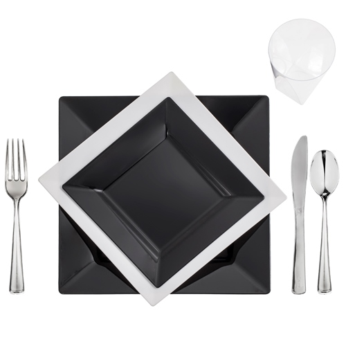 u201cBlack-Whiteu201d China-Look Square Collection Elegant Plastic Dinnerware Package  sc 1 st  Save On Party Goods & Black-Whiteu201d China-Look Square Collection Elegant Plastic Dinnerware ...