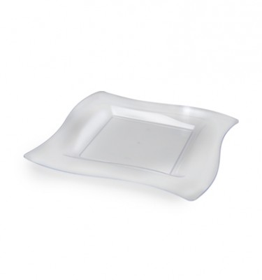 10.75u2033 Wavetrends Square-Wave Disposable Dinner Plates Clear (FL-110-CL)  sc 1 st  Save On Party Goods & Clear Plastic Plates | Save On Party Goods