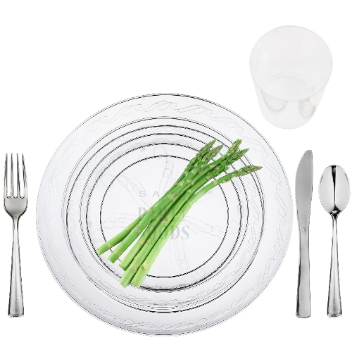 Clear Heavy Duty Savvi Serve Plastic Dinnerware Package  sc 1 st  Save On Party Goods & Clear Heavy Duty Savvi Serve Plastic Dinnerware Package | Save On ...