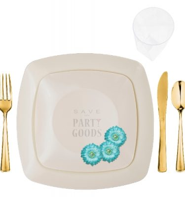 renaissance collection elegant plastic dinnerware package