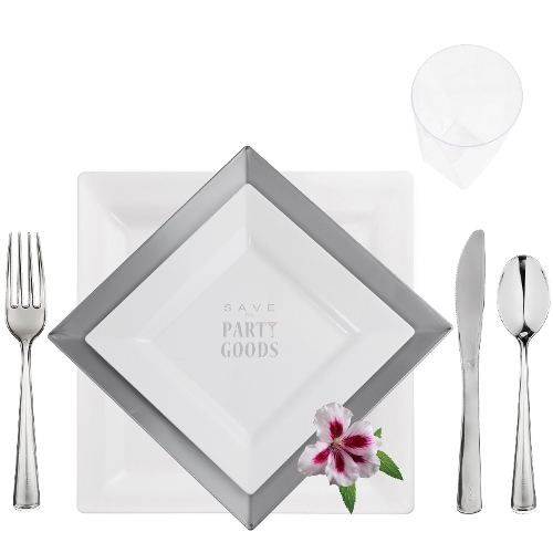 chinalook square collection elegant plastic dinnerware package