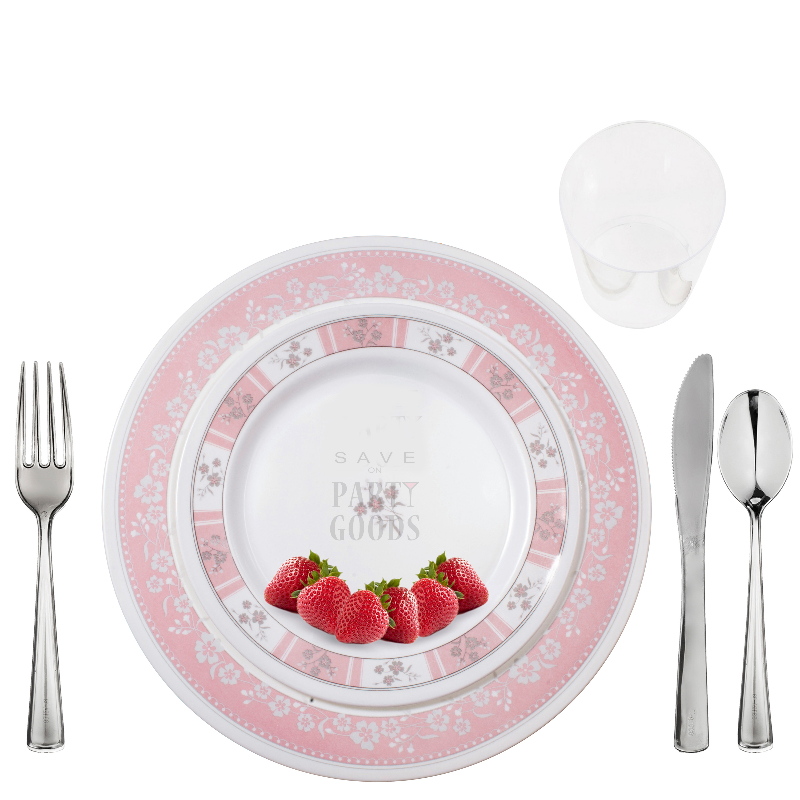 \u201cConcord Pink\u201d Elegant Plastic Dinnerware Package  sc 1 st  Save On Party Goods & Concord Pink\u201d Elegant Plastic Dinnerware Package | Save On Party Goods