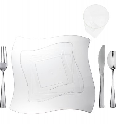u201cClearu201d Square-Wave Wavetrends Collection Elegant Plastic Dinnerware Package  sc 1 st  Save On Party Goods & Clear Plastic Plates | Save On Party Goods