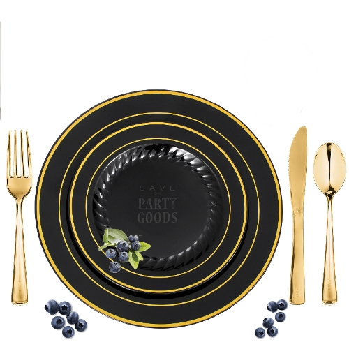 Black/Gold Rim Masterpiece Style Elegant Plastic Dinnerware Package  sc 1 st  Save On Party Goods & Black/Gold Rim Masterpiece Style Elegant Plastic Dinnerware Package ...